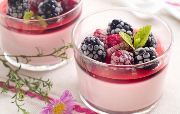 Картинка ягоды, малина, фон, widescreen, обои, еда, черника, листик, wallpaper, стаканы, кружки, широкоформатные, background, полноэкранные, HD …