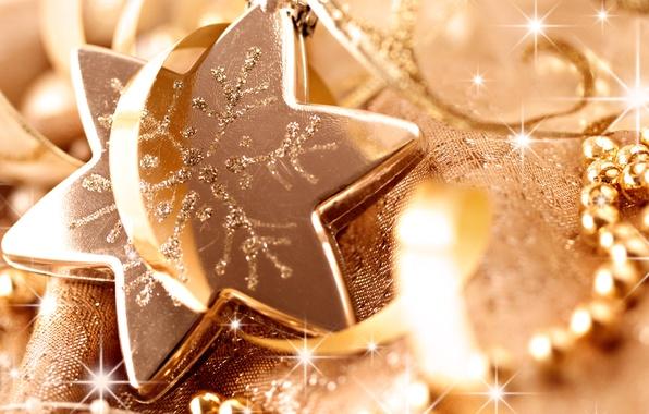Картинка макро, праздник, звезда, блеск, новый год, блестки, бусы, new year, ленточка, елочная игрушка