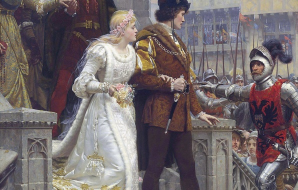 Картинка замок, картина, меч, доспехи, sword, рыцарь, невеста, armor, свадьба, жених, castle, Middle Ages, picture, wedding, …