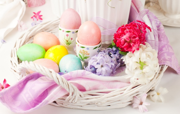 Картинка цветы, яйца, Пасха, flowers, spring, Easter, eggs, holiday, decoration, blessed