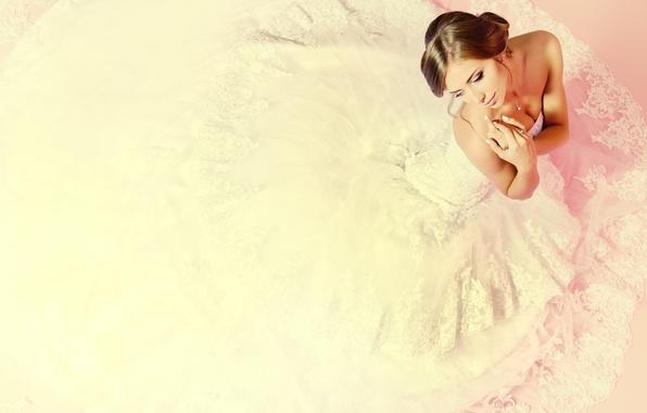 Картинка девушка, макияж, невеста, белое платье