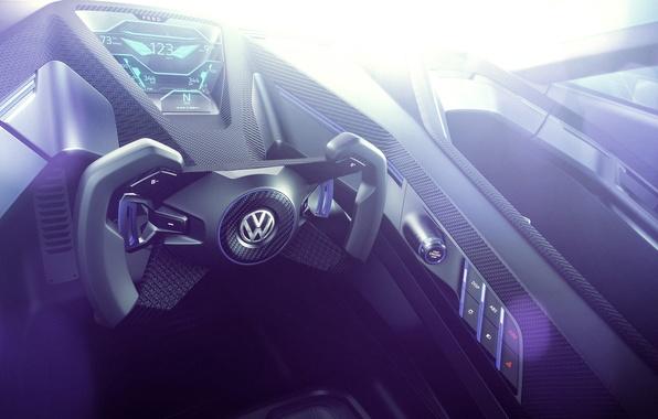 Картинка Concept, интерьер, Volkswagen, руль, гольф, Golf, фольксваген, Sport, приборная панель, торпедо, GTE, 2015