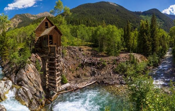 Картинка лес, деревья, горы, река, Колорадо, панорама, водяная мельница, Colorado, Crystal, Crystal Mill, Crystal River, Кристал