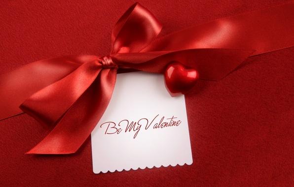 Картинка праздник, сердечко, бантик, День святого Валентина, heart, открытка, Valentine's Day, holiday, bow, атласная лента, satin …