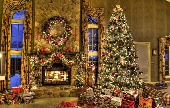 Картинка дом, настроение, праздник, игрушки, елка, подарки, Новый год, камин, гирлянда, коробки, New Year