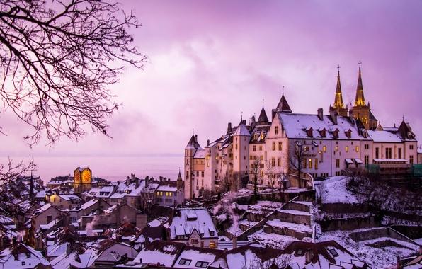 Картинка зима, озеро, замок, здания, дома, Швейцария, панорама, Switzerland, Невшательское озеро, Neuchâtel, Замок Невшатель, Lake Neuchâtel, ...
