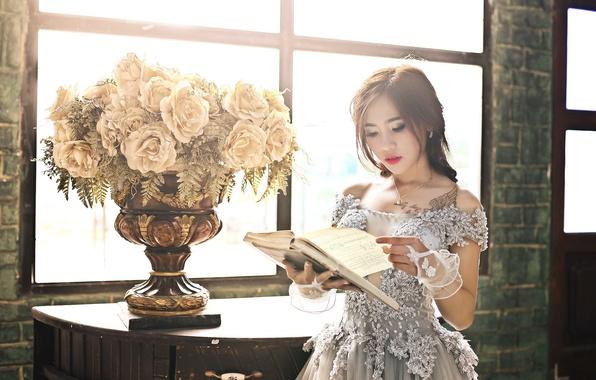 Картинка девушка, цветы, книга