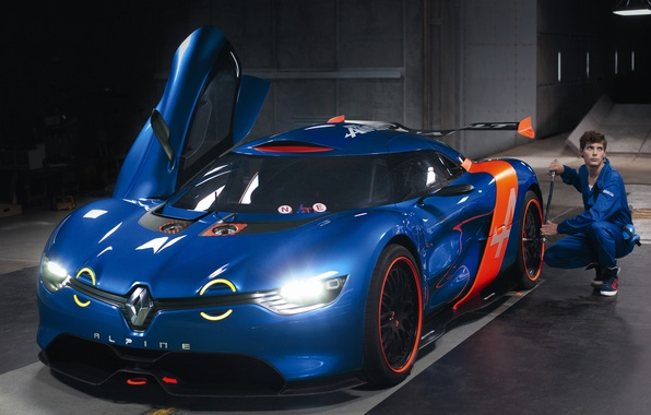 Картинка машина, Concept, свет, фары, гараж, концепт, Renault, Alpine, A110-50