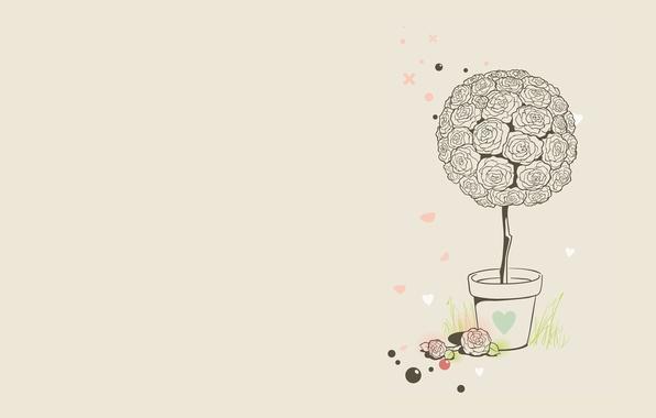 Картинка трава, шарики, цветы, розы, минимализм, вектор, арт, горшок, клумба, сердчки