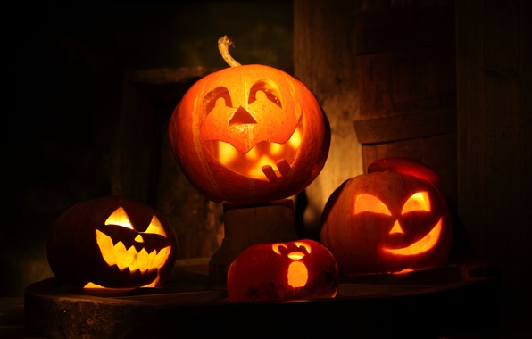 Картинка свечи, тыквы, Halloween, Хэллоуин, маски