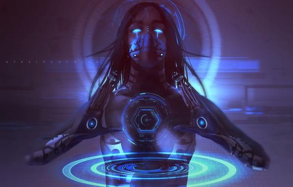 Картинка взгляд, девушка, технологии, руки, киборг, киберпанк, sci-fi