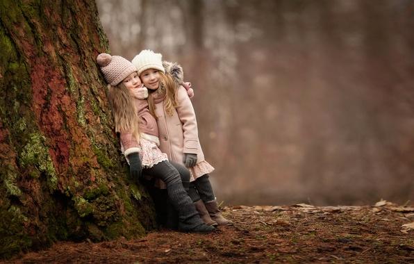 Картинка лес, радость, дети, настроение, девочки, встреча, подружки