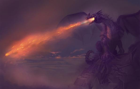 Картинка небо, облака, скала, фантастика, огонь, дракон, арт, огнедышащий