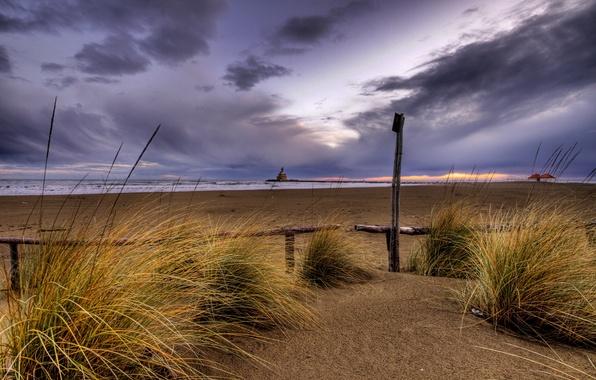 Картинка песок, пляж, закат, пасмурно, Небо, вечер
