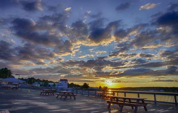 Картинка солнце, облака, река, утро, набережная