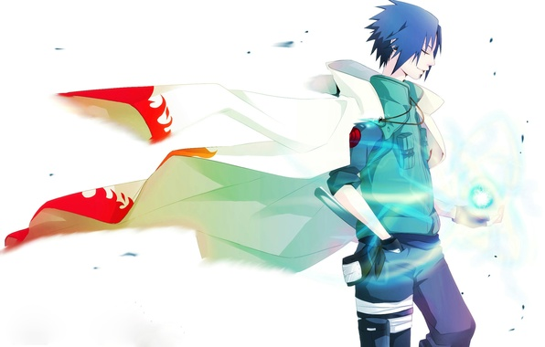 Картинка Аниме, Наруто, Naruto, накидка, короткие волосы, Uchiha Sasuke, Учиха Саске, расенган