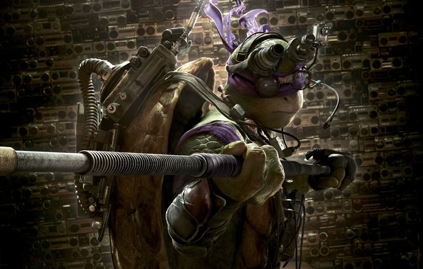Картинка Action, Fantasy, Purple, Green, with, TMNT, Donatello, Teenage Mutant Ninja Turtles, Ninja, Weapons, Movie, Paramount …