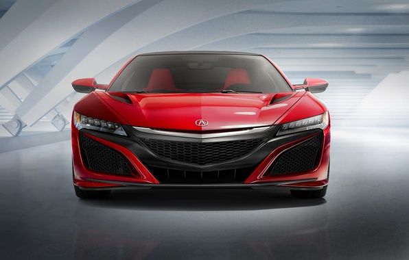 Фото обои Red, Car, Auto, Front, Acura, NSX, 2015, Ligth