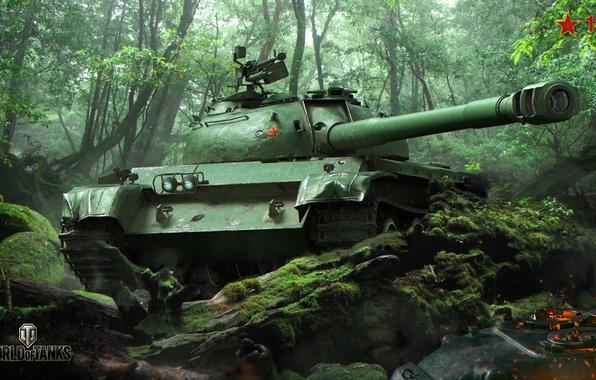Картинка зелень, лес, деревья, камни, мох, засада, танк, китайский, средний, World of Tanks, 121