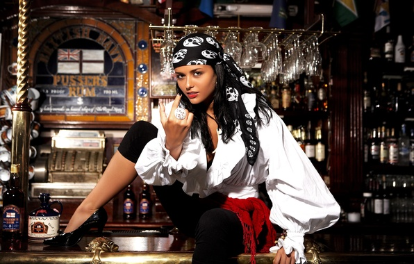 Картинка девушка, бар, выпивка