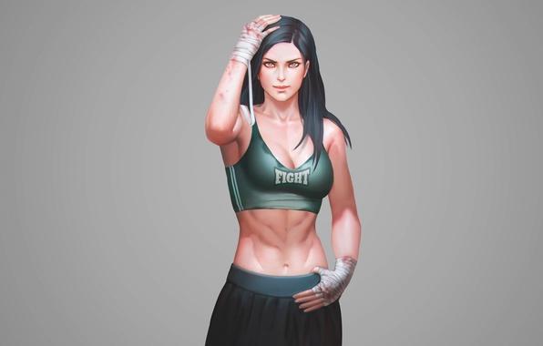 Картинка сила, спорт, майка, sport, girl, мышцы, Fighter