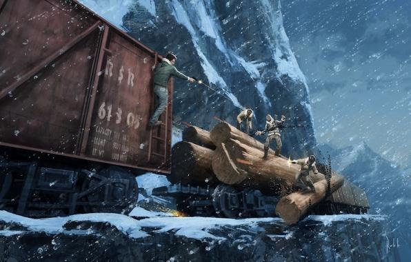 Картинка зима, дорога, снег, горы, поезд, погоня, железная, перестрелка, Uncharted 2