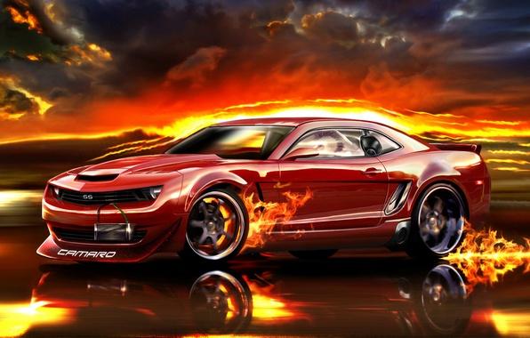 Картинка дорога, красный, огонь, скорость, Camaro, автомобиль