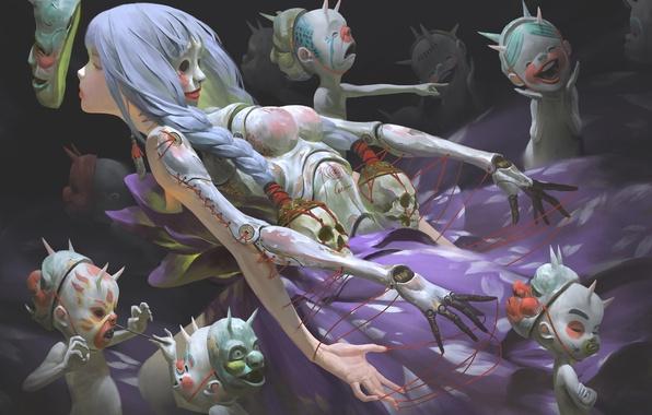 Картинка девушка, фантазия, духи, маска, арт, ведьма, демоны