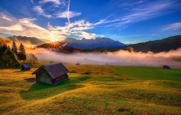 Картинка лес, небо, трава, деревья, закат, горы, природа, парк, дома, colors, forest, sky, trees, nature, sunset, …