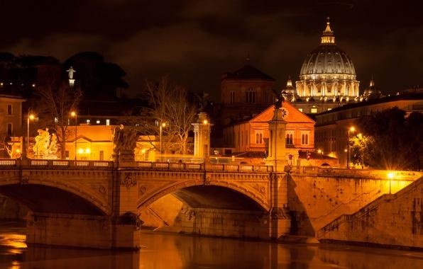 Картинка свет, ночь, город, река, освещение, Рим, фонари, Италия, архитектура, Italy, Rome, Ватикан, Тибр, собор Святого …