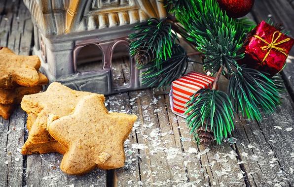 Картинка праздник, игрушки, доски, новый год, рождество, ветка, печенье, домик, сосна, выпечка