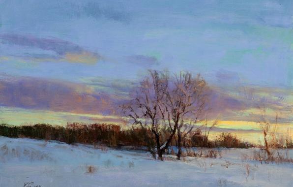 Картинка зима, небо, облака, свет, снег, пейзаж, закат, ветки, дерево, картина, арт, сумерки, Peter Fiore, February ...