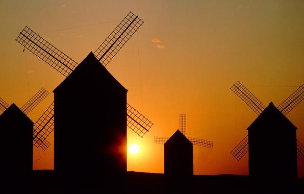 Картинка небо, солнце, пейзаж, закат, силуэт, мельница