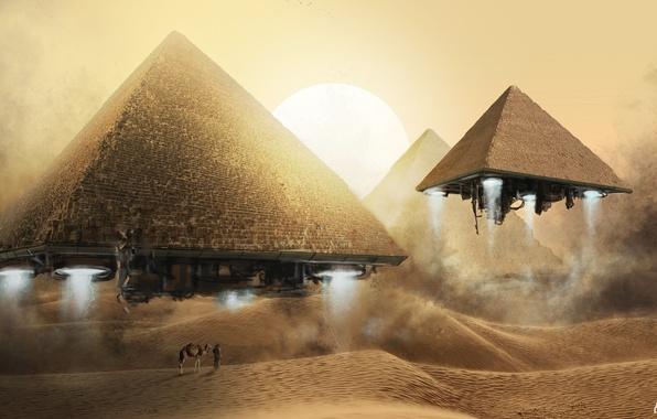 Картинка песок, солнце, полет, фантазия, пустыня, человек, арт, дюны, верблюд, пирамиды, летающие, бедуин