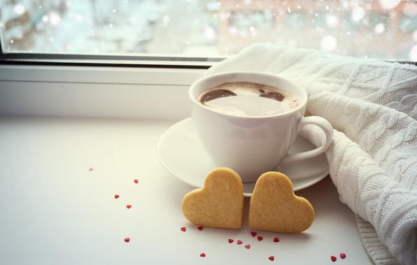 Картинка любовь, кофе, чашка, hearts, bokeh, valentine's day