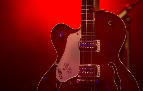 Картинка гитара, струны, красный свет, этап