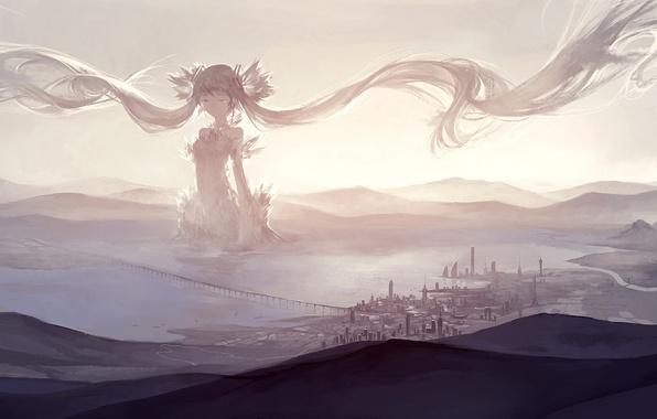 Картинка небо, девушка, облака, мост, город, аниме, арт, vocaloid, hatsune miku, kklaji008