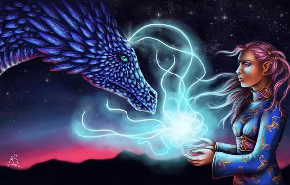 Арт девушка дракон эльфийка ушки