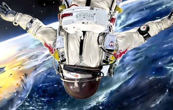 Картинка космос, планета, атмосфера, скафандр, арт, мужчина, астронавт, Julian Celaj