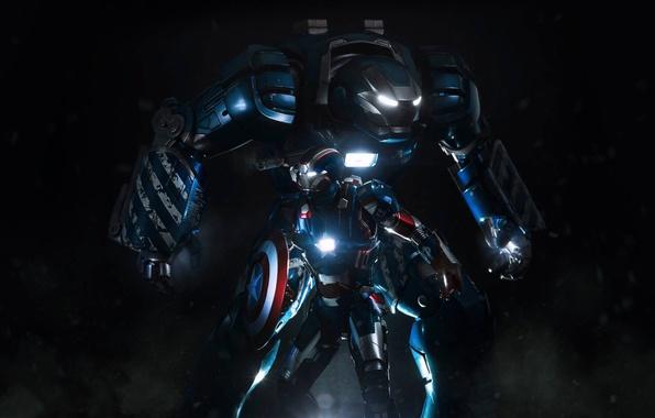 Картинка фантастика, робот, костюм, щит, Железный человек, Iron Man, Капитан Америка, Captain America, патриот
