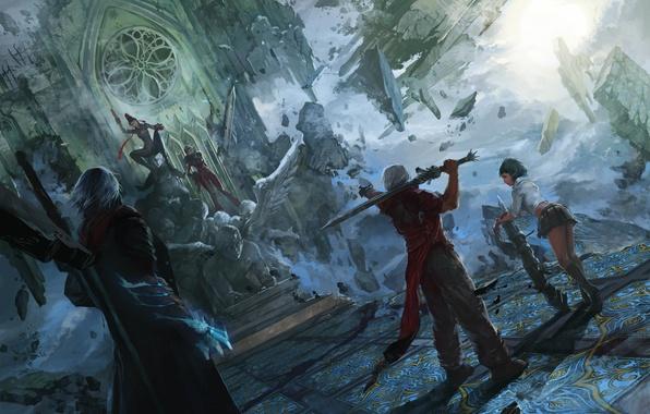Картинка меч, демон, ведьма, art, crossover, lady, nero, bayonetta, devil may cry, dante, полукровка, jeanne