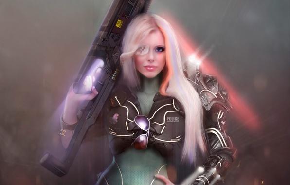 Картинка девушка, оружие, фон, очки, форма