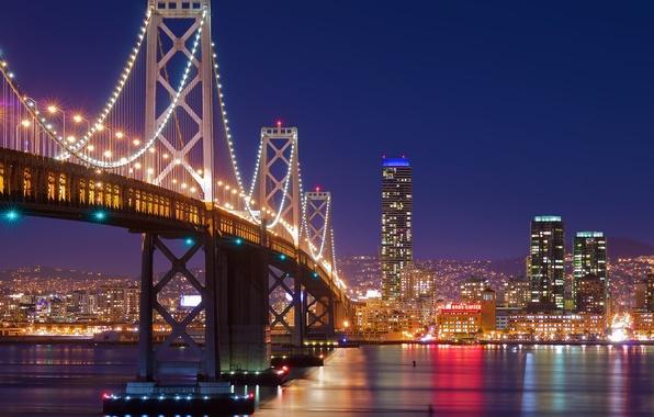 Картинка ночь, мост, город, огни, San Francisco, сан франциско