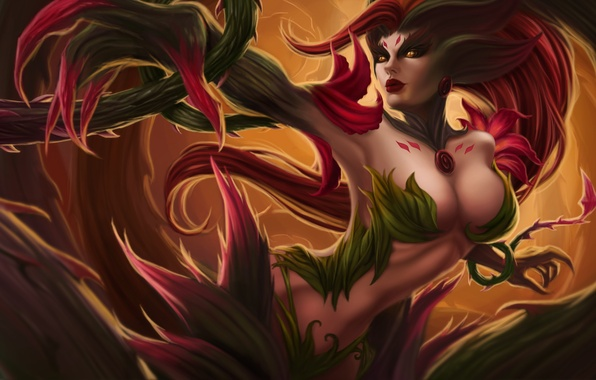 Картинка девушка, lol, League of Legends, moba, Rise of the Thorns, Zyra