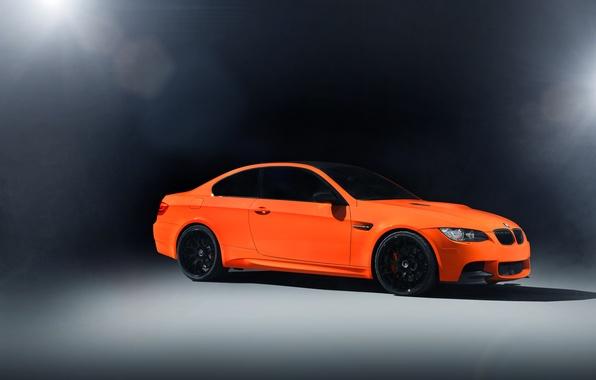 Картинка свет, оранжевый, блики, бмв, BMW, front, E92, orange