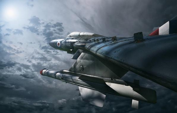 Картинка photoshop, composite, Night Hunter, Gloster Javelin FAW.9R