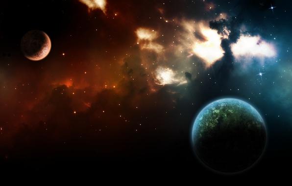 Картинка цвета, космос, свет, туманность, вселенная, планеты, звёзды