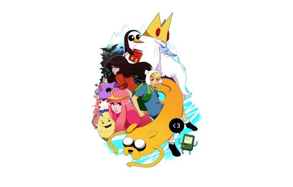 Картинка Аниме, Anime, Джейк, Jake, Adventure Time, Время Приключений, Марселин, Finn, BMO, Финн, Пора Приключений