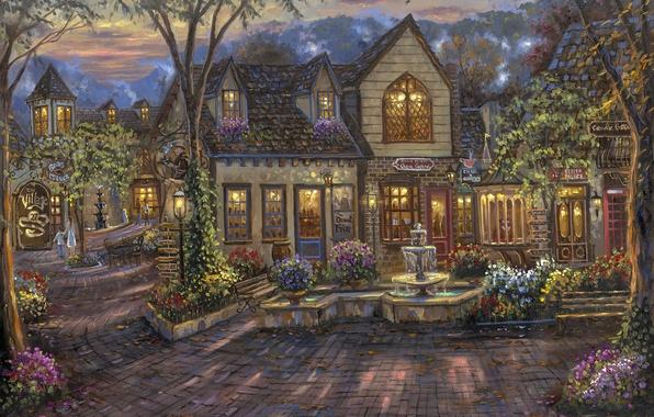 Картинка цветы, дома, вечер, кафе, лавка, фонтан, живопись, Robert Finale, скамья, The Village