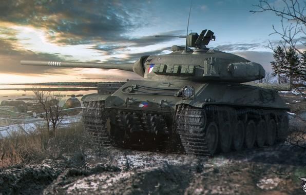 Картинка снег, река, берег, танк, сумерки, средний, World of Tanks, Skoda, TVP T 50/51, Чехословакия